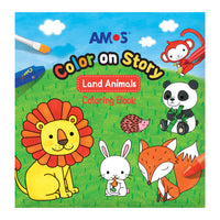 Amos Colour on Story- Land Animals Colouring Book