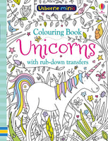 Usborne Mini's Unicorn Colouring book with rub-down transfers