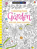Usborne Mini's Garden Colouring book with rub-down transfers