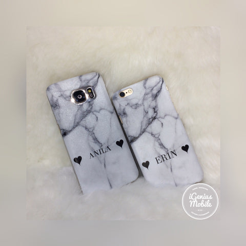 White Marble Hearts Personalised Case