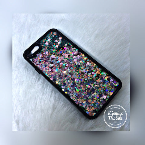 SALE - Pink (Black) Liquid Glitter Case