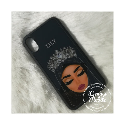 Personalised! Tanned Hijab Case Silver Crown