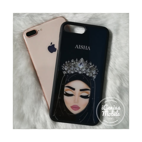 Personalised! Fair Hijab Case Silver Crown