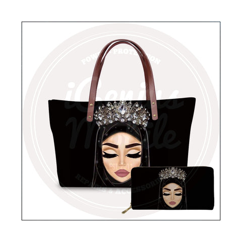 NEW! Fair Hijabi Silver Crown Handbag & Wallet Set