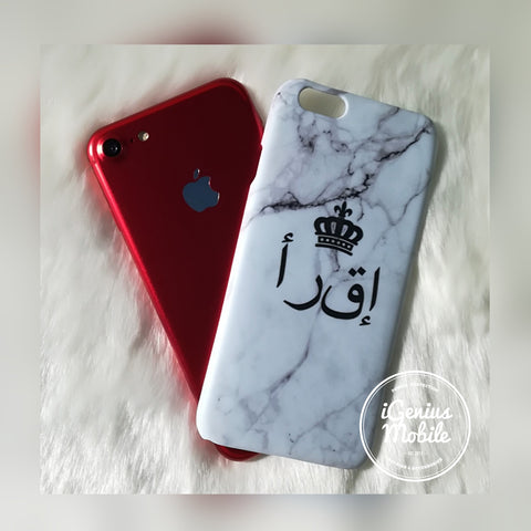 Arabic White Marble Crown Personalised Case