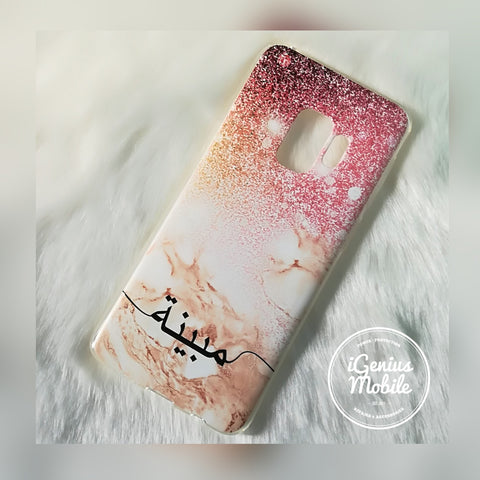 Arabic Pink Glitter Rose Gold Marble Personalised Case