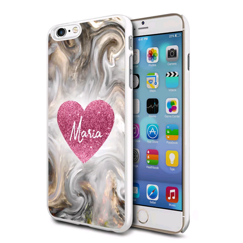 Pink Glitter effect Heart Swirl Marble Personalised Case