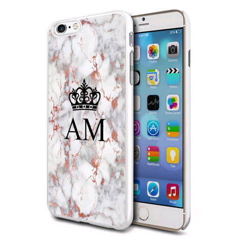 Rose Gold Marble Crown Personalised Case