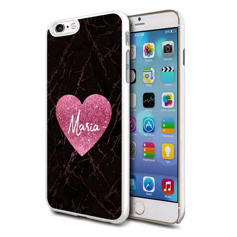 Pink Glitter Effect Heart Personalised Case