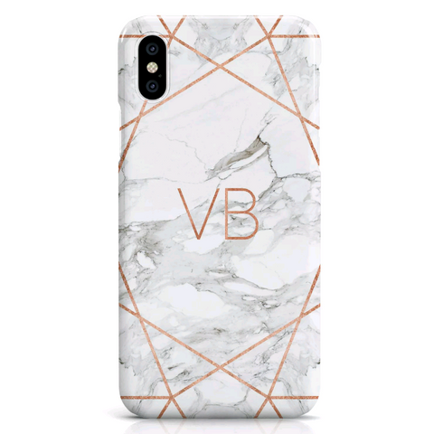 Rose Gold Geometric Personalised Case (White)
