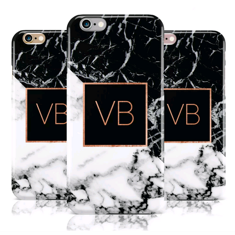 Marble Rose Gold Personalised Case (White/Black Marble)