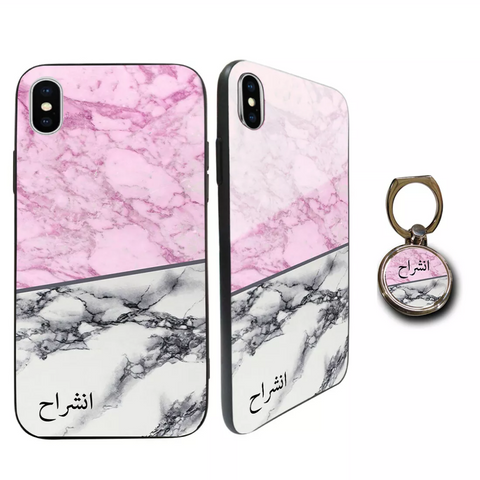 Premium Glass Grey & Pink Personalised Case
