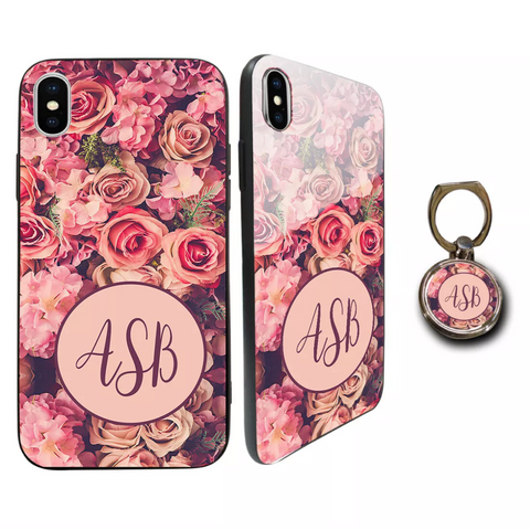 Premium Glass Rose Flower Personalised Case