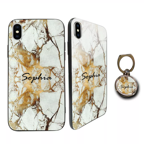 Premium Glass Gold & Marble Personalised Case