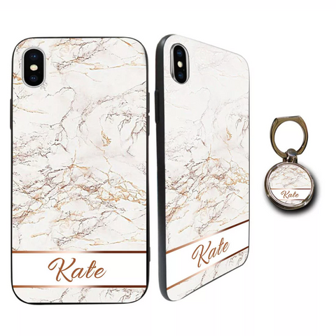Premium Glass White Rose Gold Marble Personalised Case