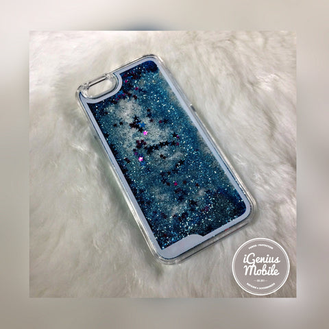 Glitter Fall Liquid Case Blue