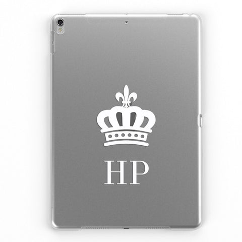 iPad Personalised Clear Crown Case (White)