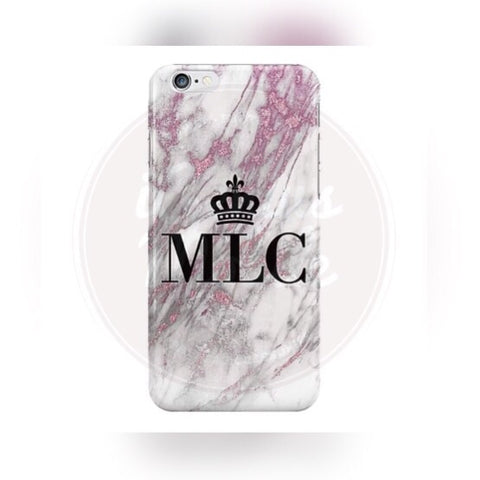 Pink & White Marble Crown Personalised Case