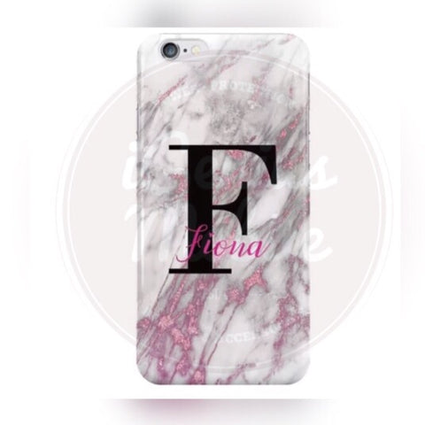 White/Pink Marble Name & Initial Case