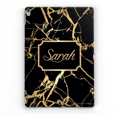 iPad Personalised Name Plated Case (Black/Gold)