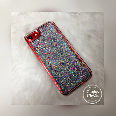 Glitter Fall Liquid Case Silver