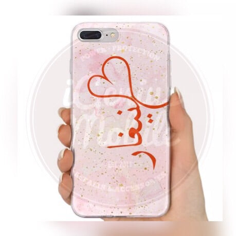 Pink Watercolour Heart Marble Personalised Case