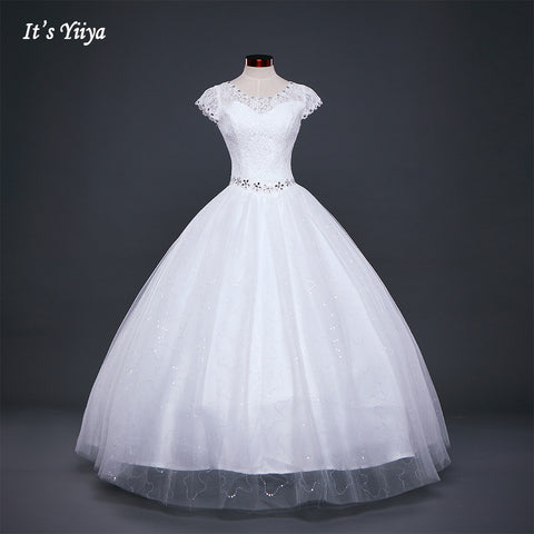 White or Red Lace Princess Wedding Dress - armazonee.com