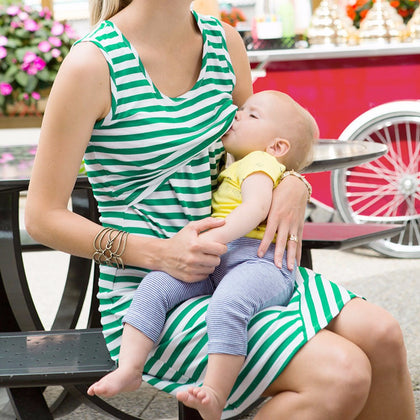 Women Maternity Dress Nursing Breastfeeding Pregnant Sleeveless Dress - armazonee.com