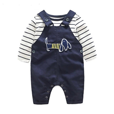 Cotton letter printed t-shirt with demin overalls Newborn babies Clothes - armazonee.com