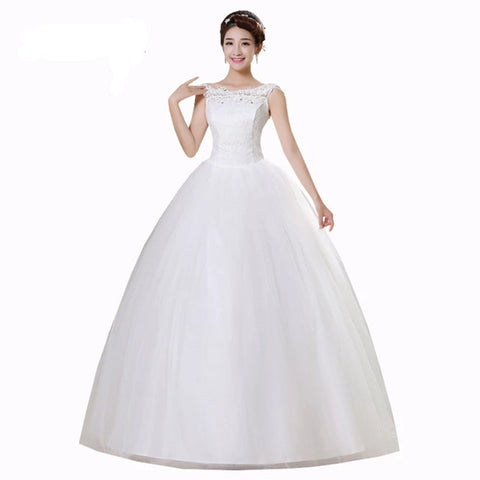 White Sleeveless Floor Length Neck A-line Wedding Dress - armazonee.com