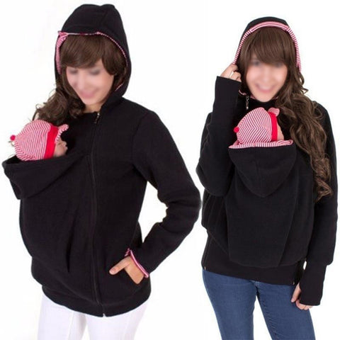 Multi-functional Kangaroo Jacket Coat Baby Hoodies Carrier - armazonee.com