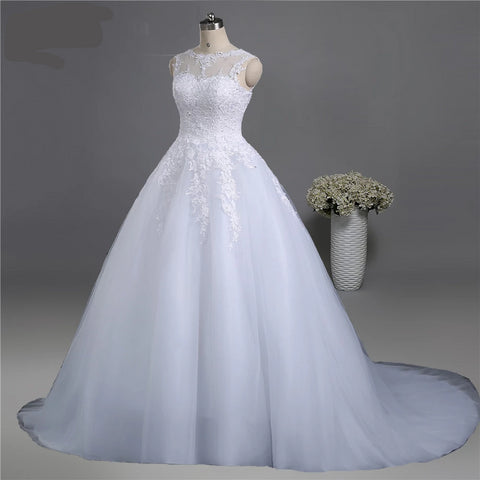 lace White Ivory Wedding Dress - armazonee.com