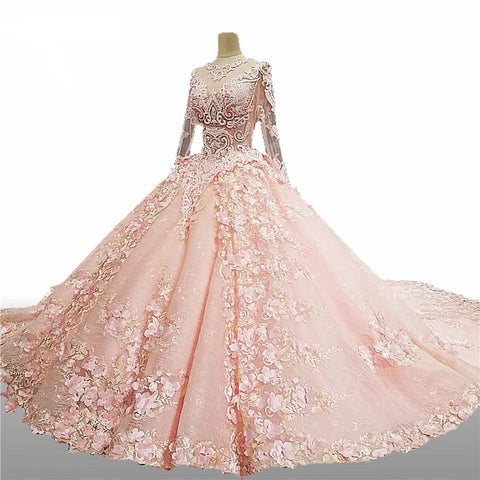 Pink Crystal Luxury Wedding Dress Flowers Lace - armazonee.com