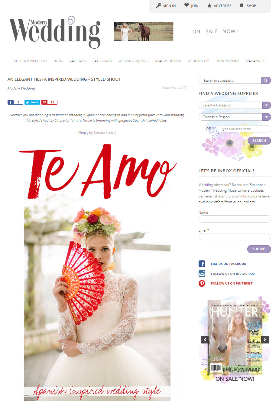 MCC Red Spanish Lace Hand Fan featured at the Modern Weddings