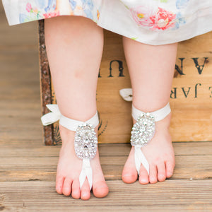 29afec0799d3 Baby Barefoot Rhinestone Crystal Sandals Beach Weddings Flower Girls ...