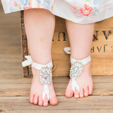 Little Girl's wearing Crystal barefoot sandals legs