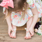 FLower girl wearing Crystal barefoot sandals foot jewelry