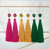 Fuschia, mustard and dark green tassel earrings