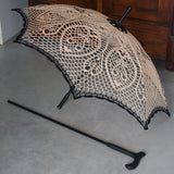 Victorian Lace Caramel Beige and Black Crochet Umbrella/Walking Stick