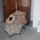 Beige and black crochet lace umbrella