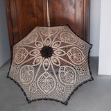 Caramel beige and black crochet lace umbrella