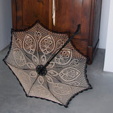 Lace umbrella with walking stick option
