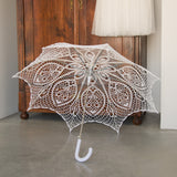 Crochet lace bridal wedding umbrella in white