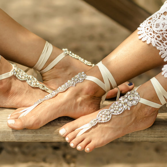 Boho Barefoot Sandals Crystal Eloped Wedding Bridal Gift Rose Gold Beach Wedding Foot Jewelry