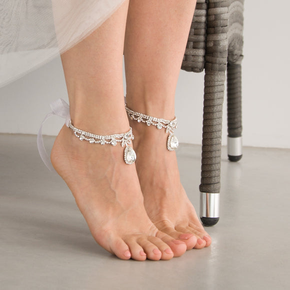 Crystal Bridal Ankle Bracelets Foot Jewelry