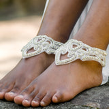 Crystal bridal barefoot ankle cuffs