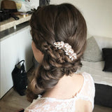 Boho bridal hair with crystal hair combs