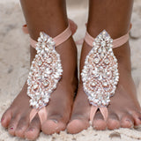 rose gold barefoot sandals for beach wedding