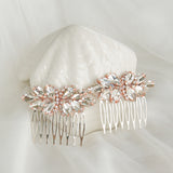 pair of the crystal wedding hair combs