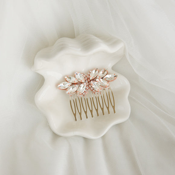crystal hair comb in a shell